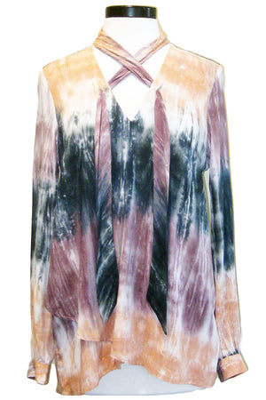 fifteen twenty tie neck crossover top tie dye