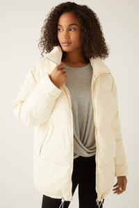 fifteen twenty long puffer jacket cream