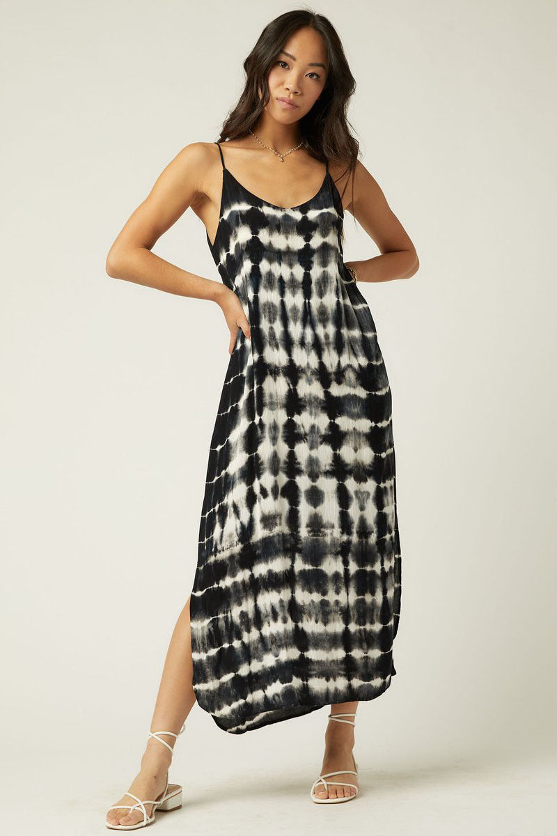 fifteen twenty tie dye midi dress black white