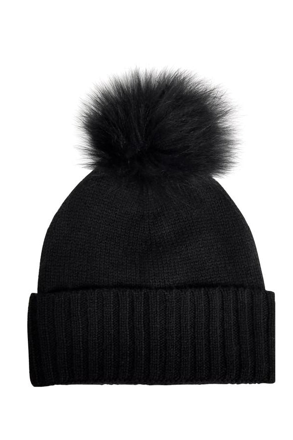 hat attack cashmere beanie with fur pom black