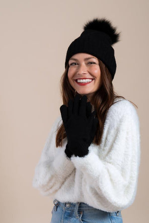hat attack cashmere beanie with fur pom