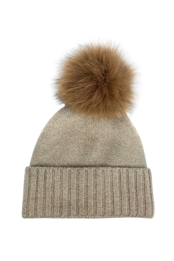 hat attack cashmere beanie with fur pom taupe