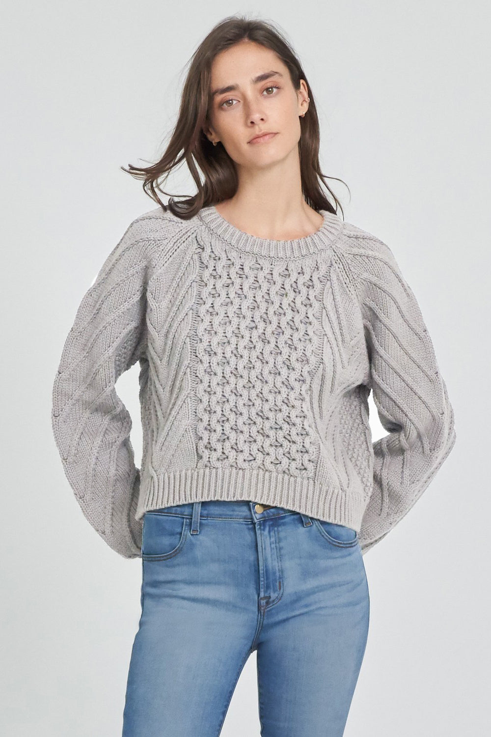 j brand zuri fisherman sweater heather grey