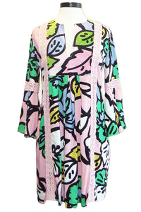 kas new york ancona dress mod pink print