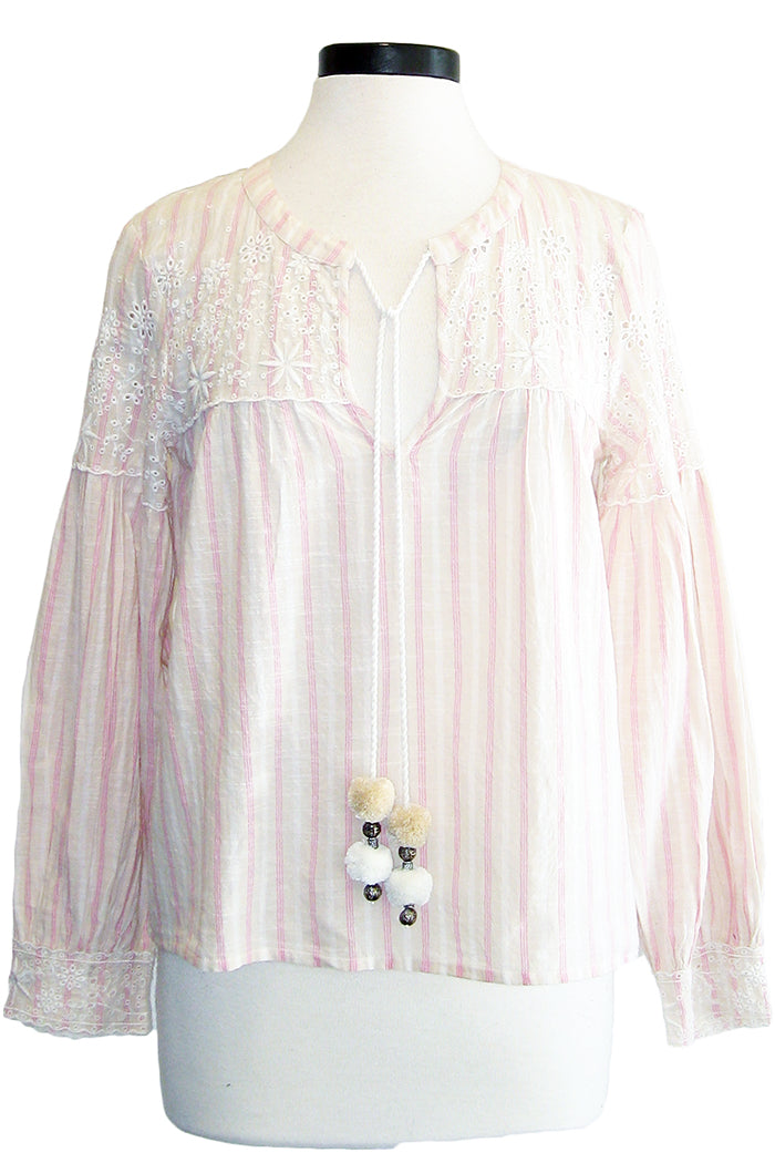 loveshackfancy prairie peasant top pink