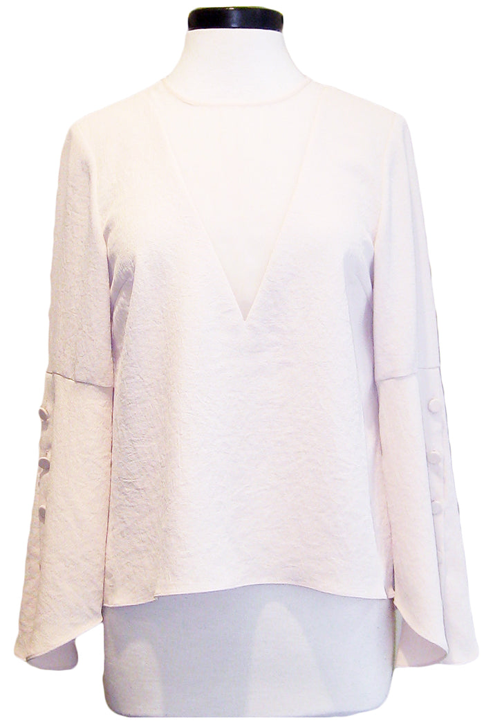luxe deluxe day to night button cuff top nude