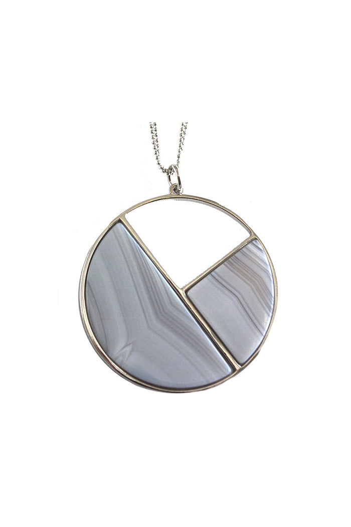 marcia moran camille necklace grey striped agate rhodium