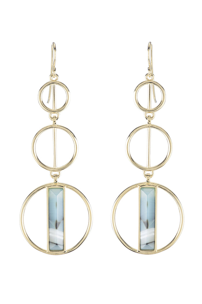 marcia moran formosa earrings blue striped agate gold