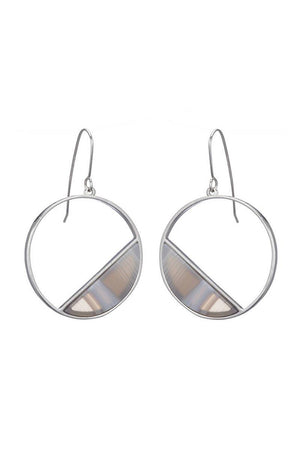 marcia moran sabella earrings grey striped agate rhodium