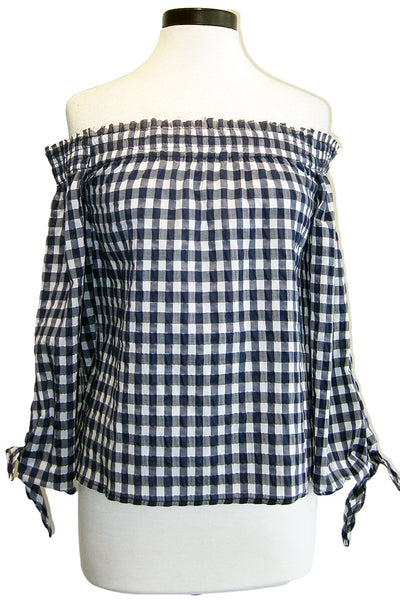 mcguire pina top navy gingham