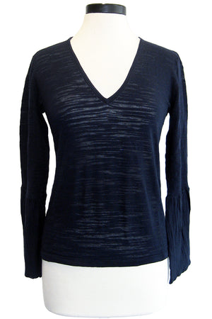 minnie rose bell sleeve top navy