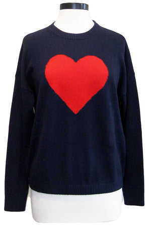 minnie rose heart pullover navy