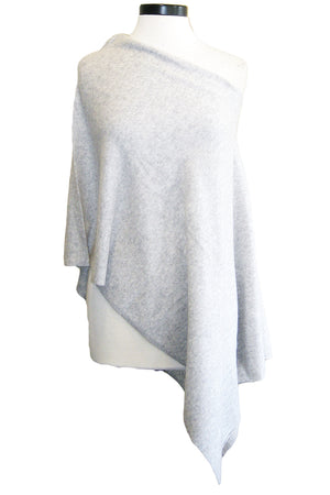 minnie rose cashmere ruana light heather grey