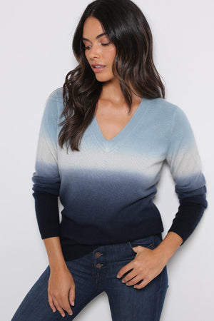 minnie rose dip dye long sleeve v-neck
