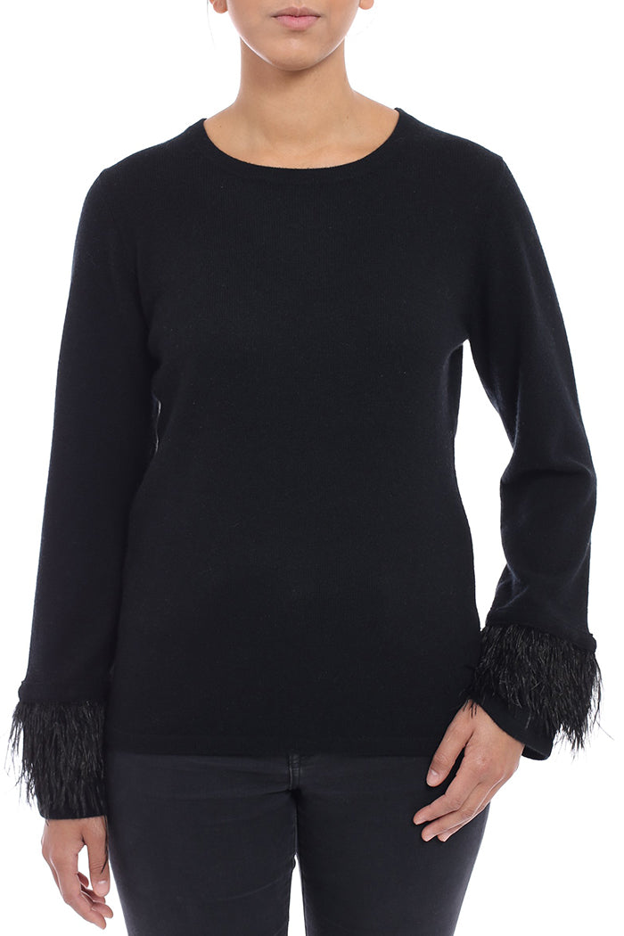 minnie rose feather trim pullover