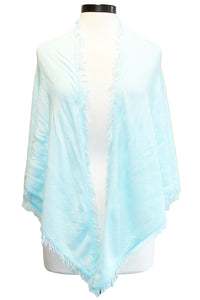 minnie rose frayed edge shawl sevron blue