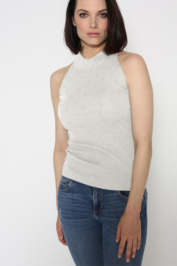 minnie rose sleeveless mock neck