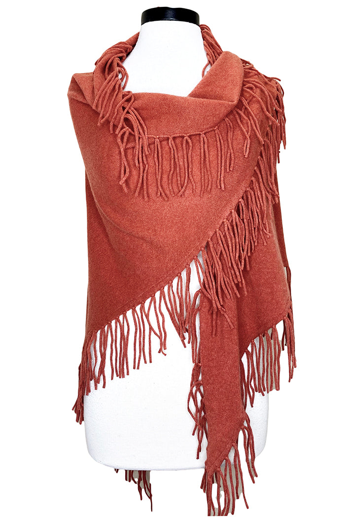 minnie rose cashmere fringe shawl clay