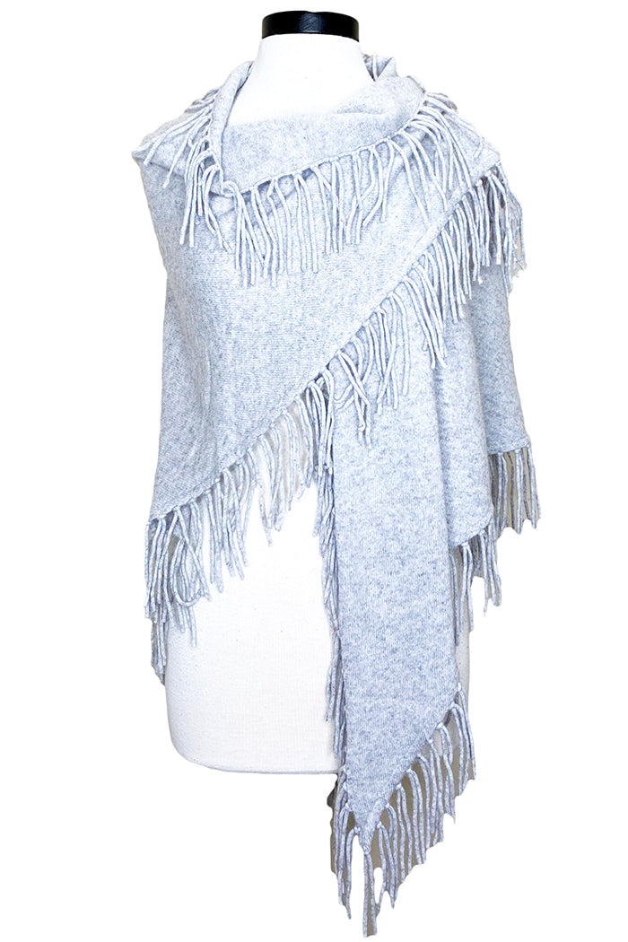 minnie rose cashmere fringe shawl light heather grey