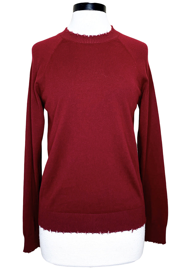 minnie rose cotton cashmere distressed crew merlot