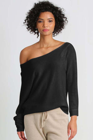 minnie rose off shoulder pullover black