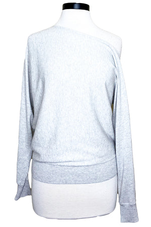 minnie rose off shoulder pullover light heather grey