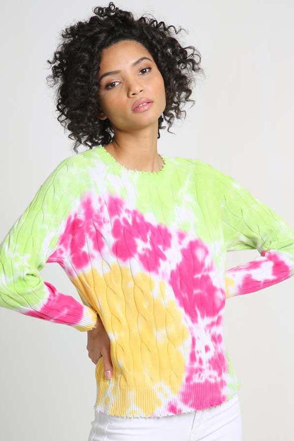 minnie rose cotton tie dye cable frayed crew happy face