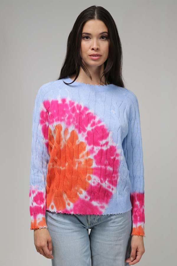 minnie rose cotton tie dye cable frayed crew orange crush