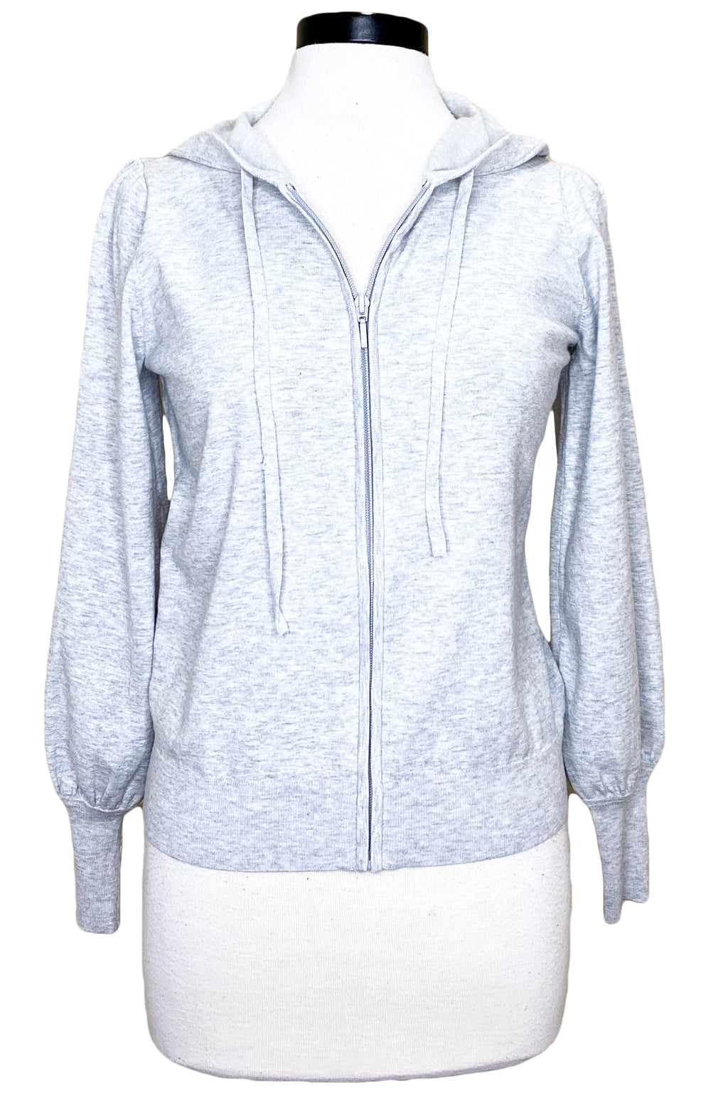 minnie rose puff sleeve zip hoodie light heather grey
