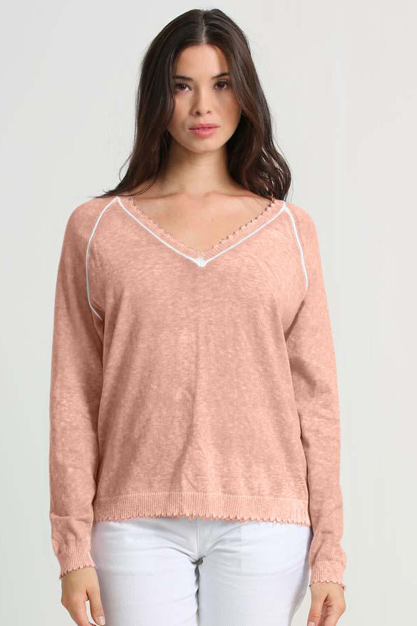 minnie rose reverse print distressed v-neck pink sand