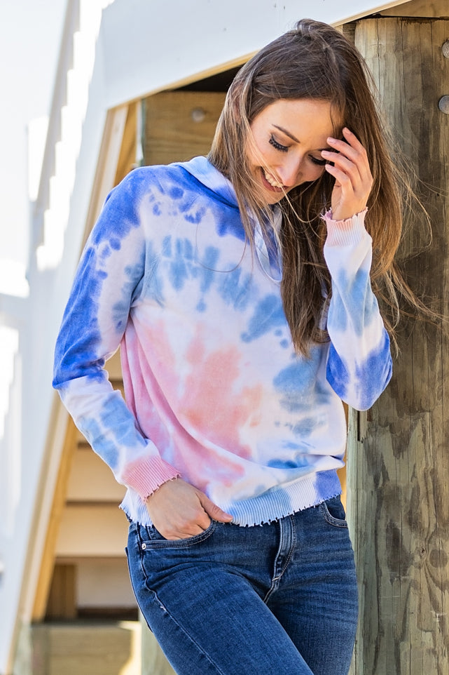 minnie rose tie dye frayed hoodie lilac combo