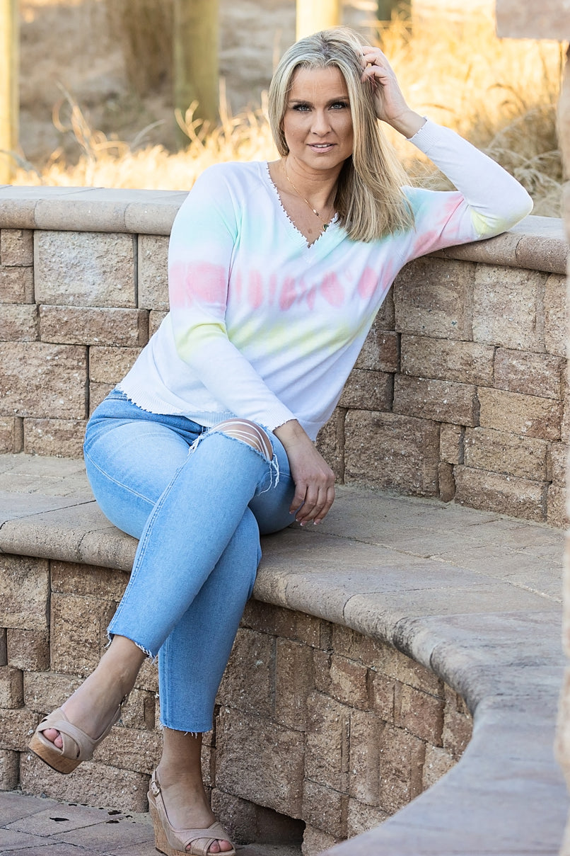 minnie rose tie dye distressed v-neck pink sand combo