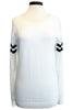 monrow athletic knit sweatshirt ivory black