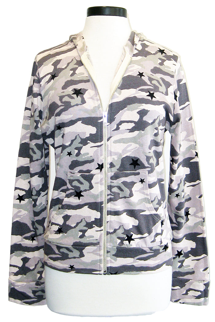 monrow camo zip up hoodie with stardust dusty pink