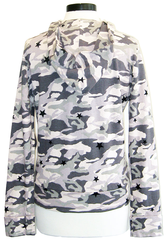 monrow camo zip up hoodie with stardust