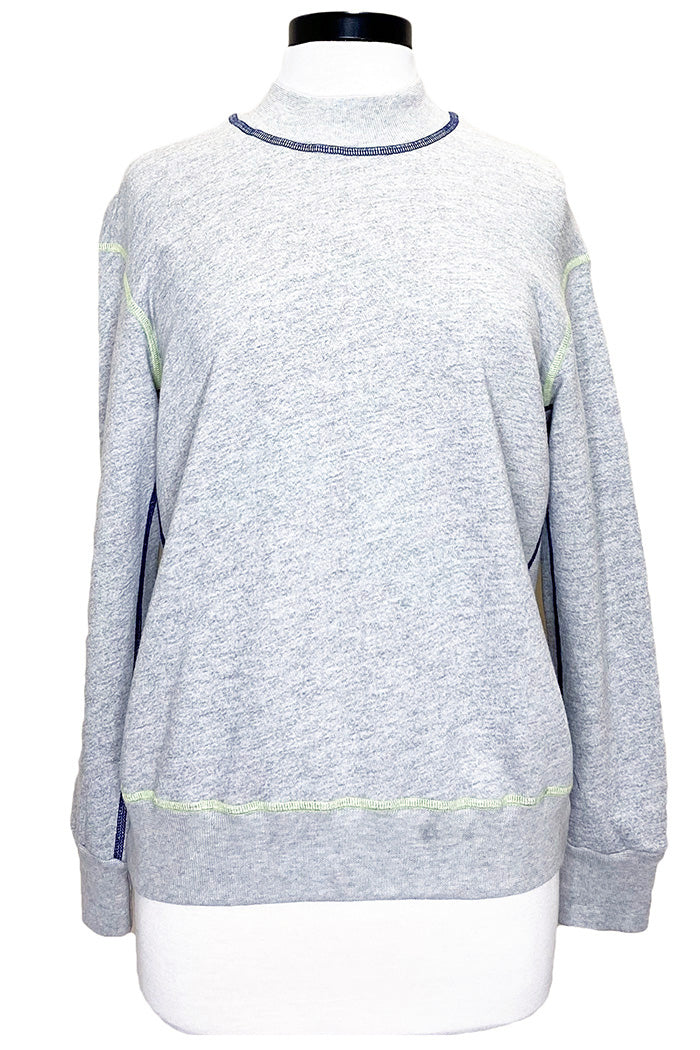 monrow pop stitching sweatshirt heather grey