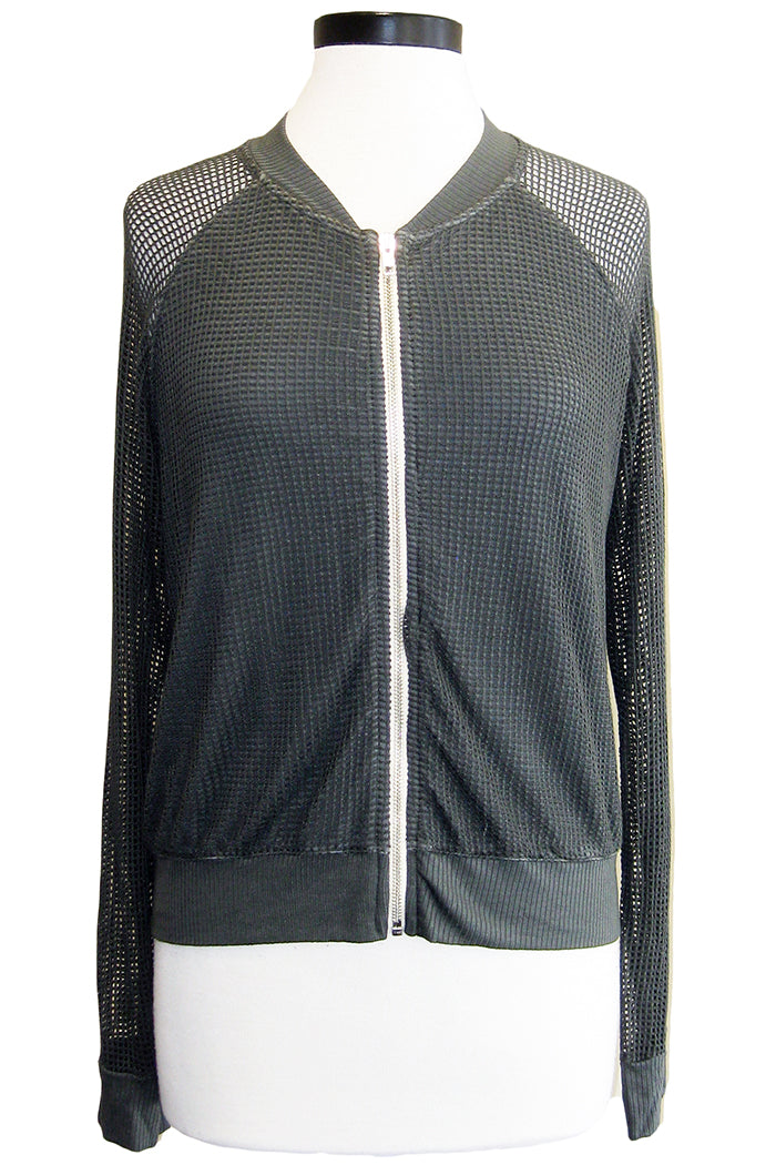 monrow mesh bomber jacket evergreen