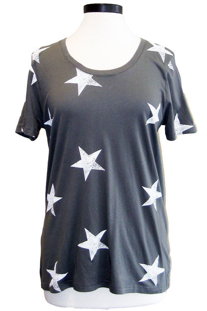 monrow oversized star crew evergreen