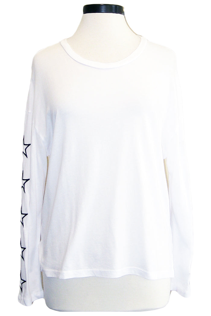 monrow embroidered star slouchy tee white