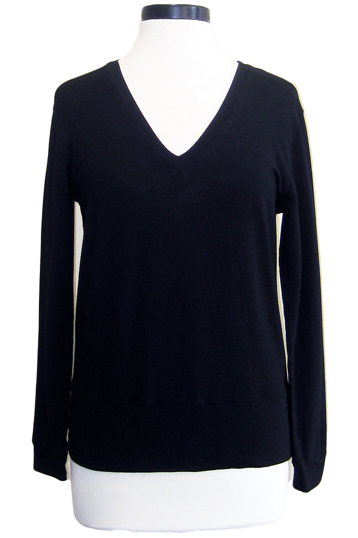 monrow supersoft v-neck sweatshirt black