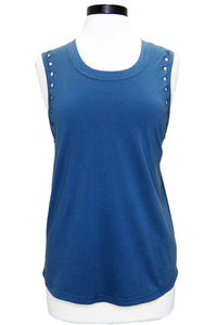 monrow muscle tank with triangle cutouts vintage blue