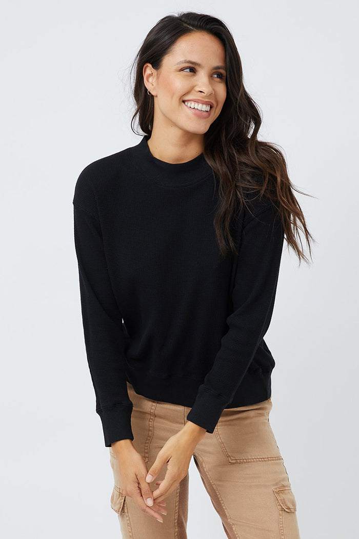 monrow thermal mock neck black