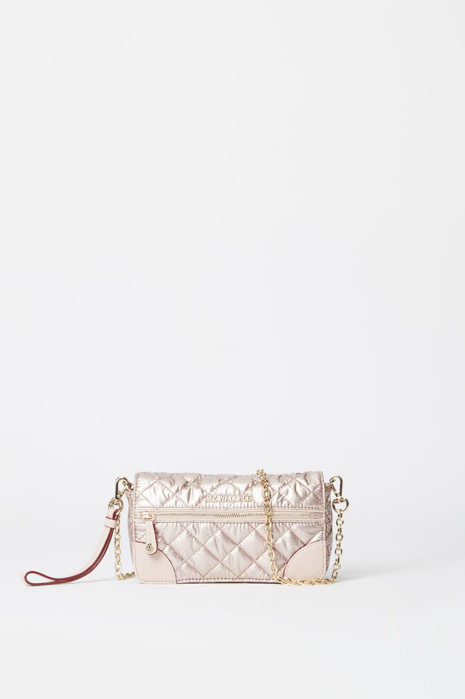 mz wallace crosby convertible wristlet in rose gold metallic