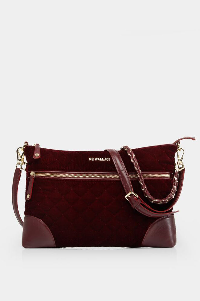 mz wallace crosby crossbody in port velvet