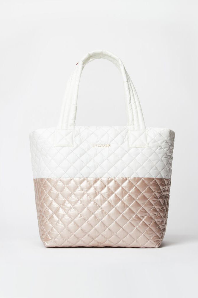 mz wallace medium metro tote in glacier rose gold metallic