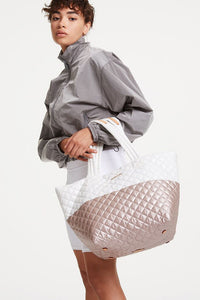 mz wallace medium metro tote in glacier and rose gold metallic