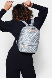 mz wallace small metro backpack in tin metallic