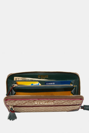 mz wallace tribeca long wallet in ivy logo jacquard
