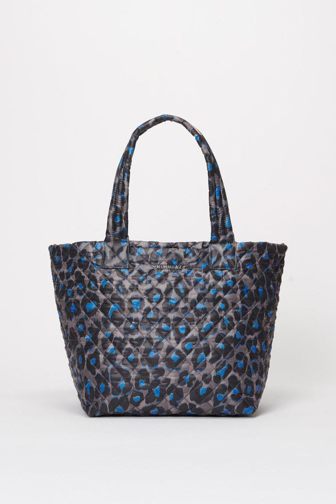 mz wallace medium metro tote deluxe in blue leopard