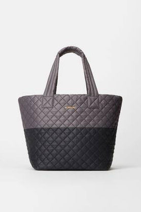 mz wallace medium metro tote in magnet/black colorblock